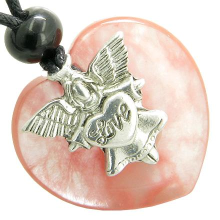 Guardian Spirit Angel Love Heart Amulet Evil Eye Protection Cherry Quartz Gemstone Pendant Necklace