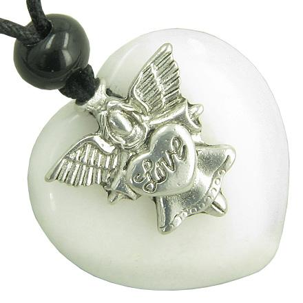 Guardian Spirit Angel Love Heart Amulet Evil Eye Protection White Jade Gemstone Pendant Necklace