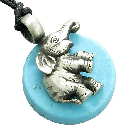Lucky Circle Elephant Good Luck Amulet Turquoise Gemstone Tablet Pendant Necklace