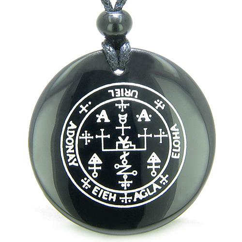 Sigil of the Archangel Uriel Magical Amulet Black Onyx Magic Circle Spiritual Pendant Necklace