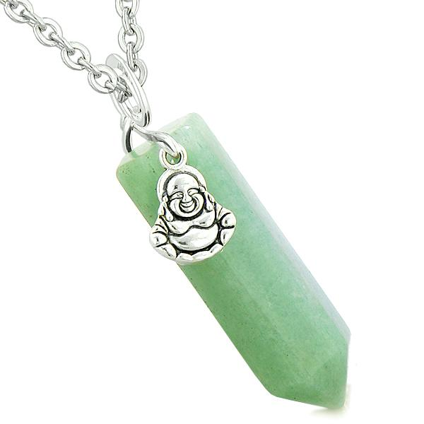 Happy Laughing Buddha Magic Powers Amulet Crystal Point Pendant Green Quartz 22 inch Necklace