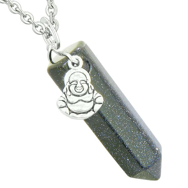 Happy Laughing Buddha Magic Powers Amulet Crystal Point Pendant Blue Goldstone 18 inch Necklace