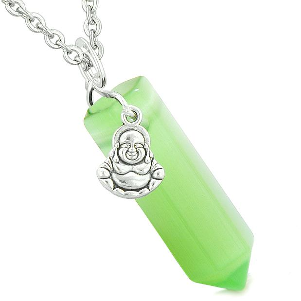 Happy Laughing Buddha Magic Amulet Crystal Point Pendant Green Simulated Cats Eye Necklace