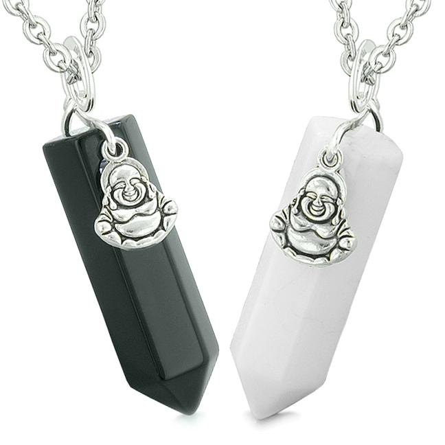 Happy Buddha Love Couples or Best Friends Crystal Points Amulets Black Agate White Quartz Necklaces