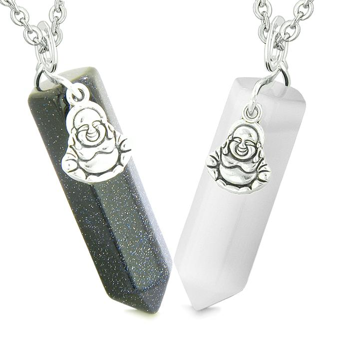 Happy Buddha Love Couples Best Friends Crystal Points Goldstone White Simulated Cats Eye Necklaces