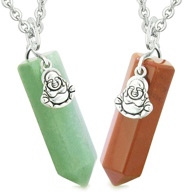 Happy Buddha Love Couples or Best Friends Crystal Points Amulets Green Quartz Red Jasper Necklaces