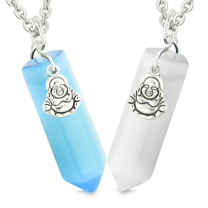 Happy Buddha Couples Best Friends Crystal Points Amulets White Blue Simulated Cats Eye Necklaces