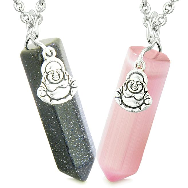 Happy Buddha Love Couples Best Friends Crystal Points Goldstone Pink Simulated Cats Eye Necklaces