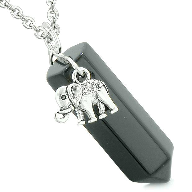 Lucky Elephant Charm Magic Powers Amulet Crystal Point Pendant Black Agate 22 Inch Necklace