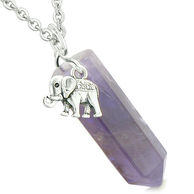 Lucky Elephant Charm Magic Powers Amulet Crystal Point Pendant Purple Quartz 18 Inch Necklace