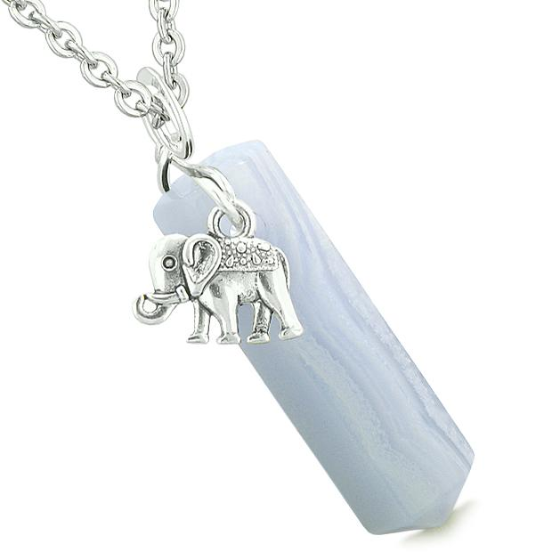Lucky Elephant Charm Magic Powers Amulet Crystal Point Pendant Blue Lace Agate 18 Inch Necklace