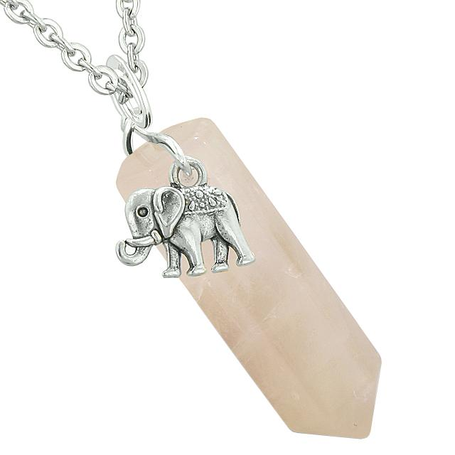 Lucky Elephant Charm Magic Powers Amulet Crystal Point Pendant Rose Quartz 18 Inch Necklace