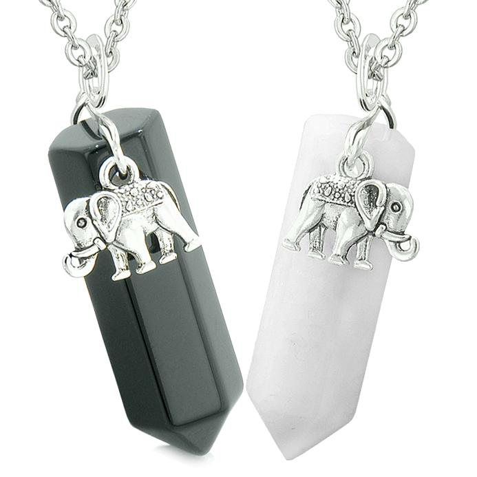 Lucky Elephant Charms Love Couples or Best Friends Crystal Points Agate White Quartz Necklaces
