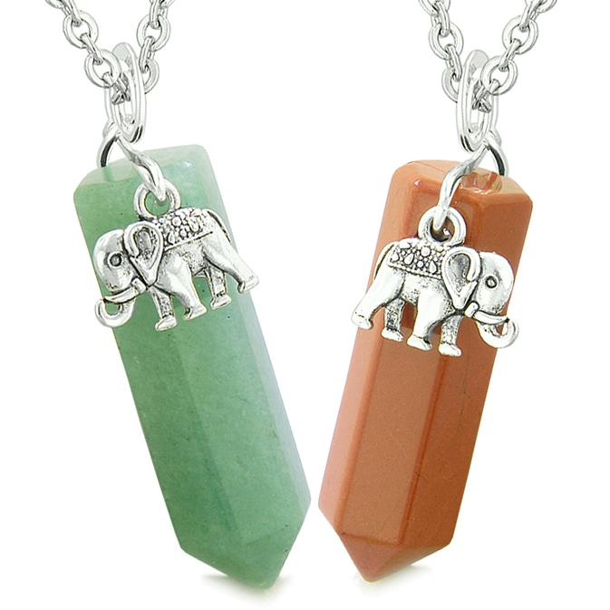 Lucky Elephant Charms Love Couples or Best Friends Crystal Points Green Quartz Red Jasper Necklaces