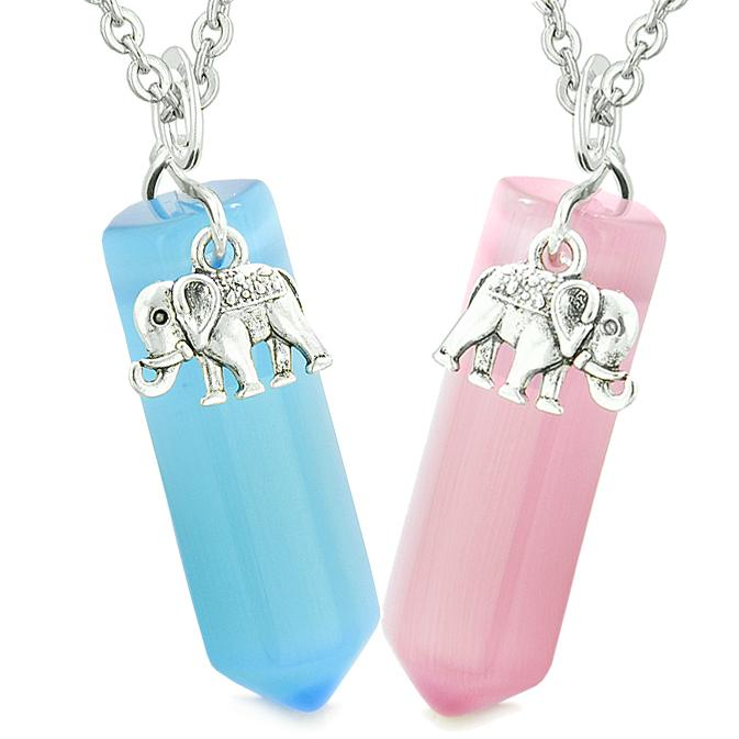 Lucky Elephant Love Couples Best Friends Crystal Points Sky Blue Pink Simulated Cats Eye Necklaces