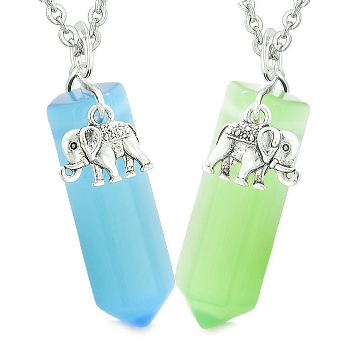 Lucky Elephant Love Couples Best Friends Crystal Points Sky Blue Green Simulated Cats Eye Necklaces