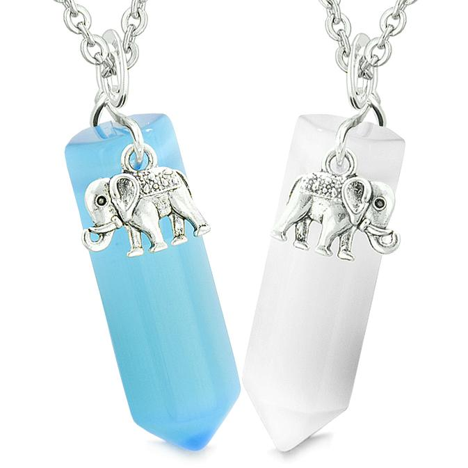 Lucky Elephant Love Couples Best Friends Crystal Points Sky Blue White Simulated Cats Eye Necklaces