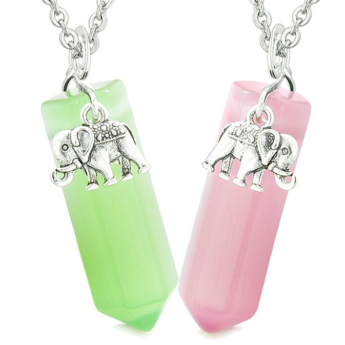 Lucky Elephant Love Couples or Best Friends Crystal Points Green Pink Simulated Cats Eye Necklaces