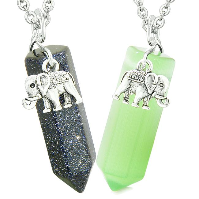 Lucky Elephant Love Couple Best Friends Crystal Points Goldstone Green Simulated Cats Eye Necklaces