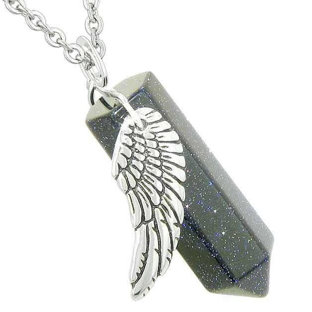 Amulet Angel Wing Magic Energy Wand Crystal Point Blue Goldstone Crystal Pendant 18 Inch Necklace