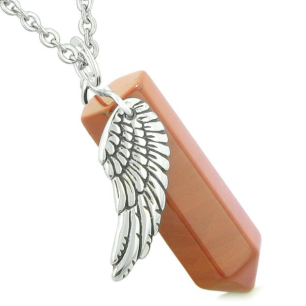 Amulet Angel Wing Magic Energy Wand Crystal Point Red Jasper Crystal Pendant 18 Inch Necklace