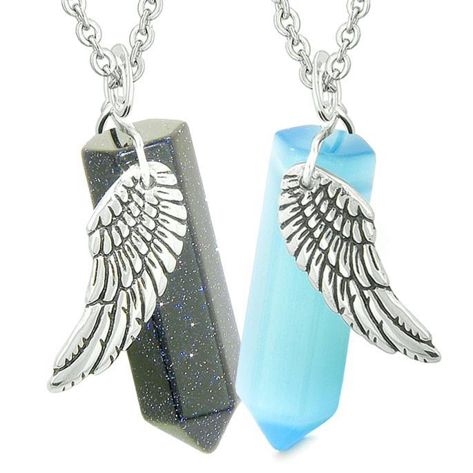 Amulets Love Couples Magic Angel Wings Crystal Points Goldstone Blue Simulated Cats Eye Necklaces