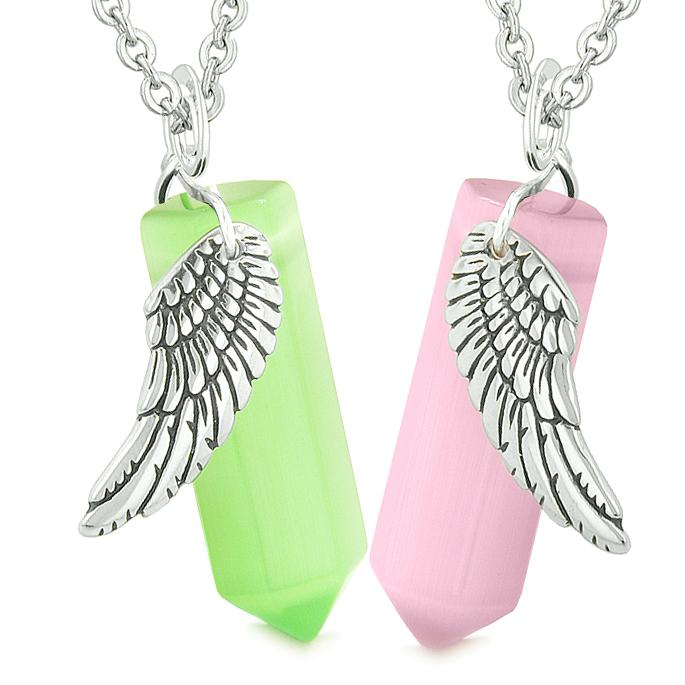 Amulets Love Couples Powers Angel Wings Crystal Points Pink Green Simulated Cats Eye Necklaces