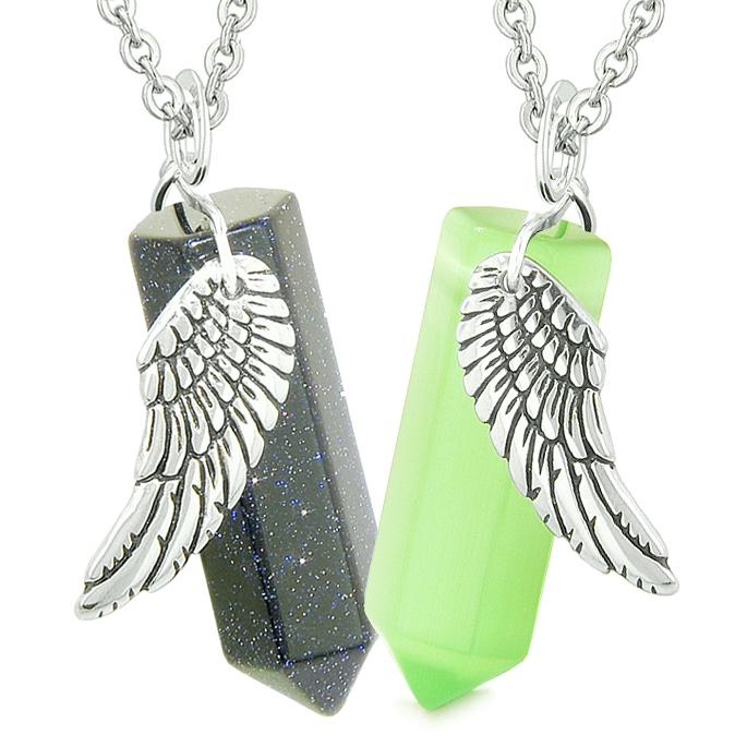 Amulets Love Couples Magic Angel Wings Crystal Points Goldstone Green Simulated Cats Eye Necklaces