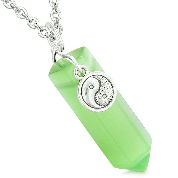 Yin Yang Balance Power Magic Amulet Crystal Point Pendant Green Simulated Cats Eye Necklace