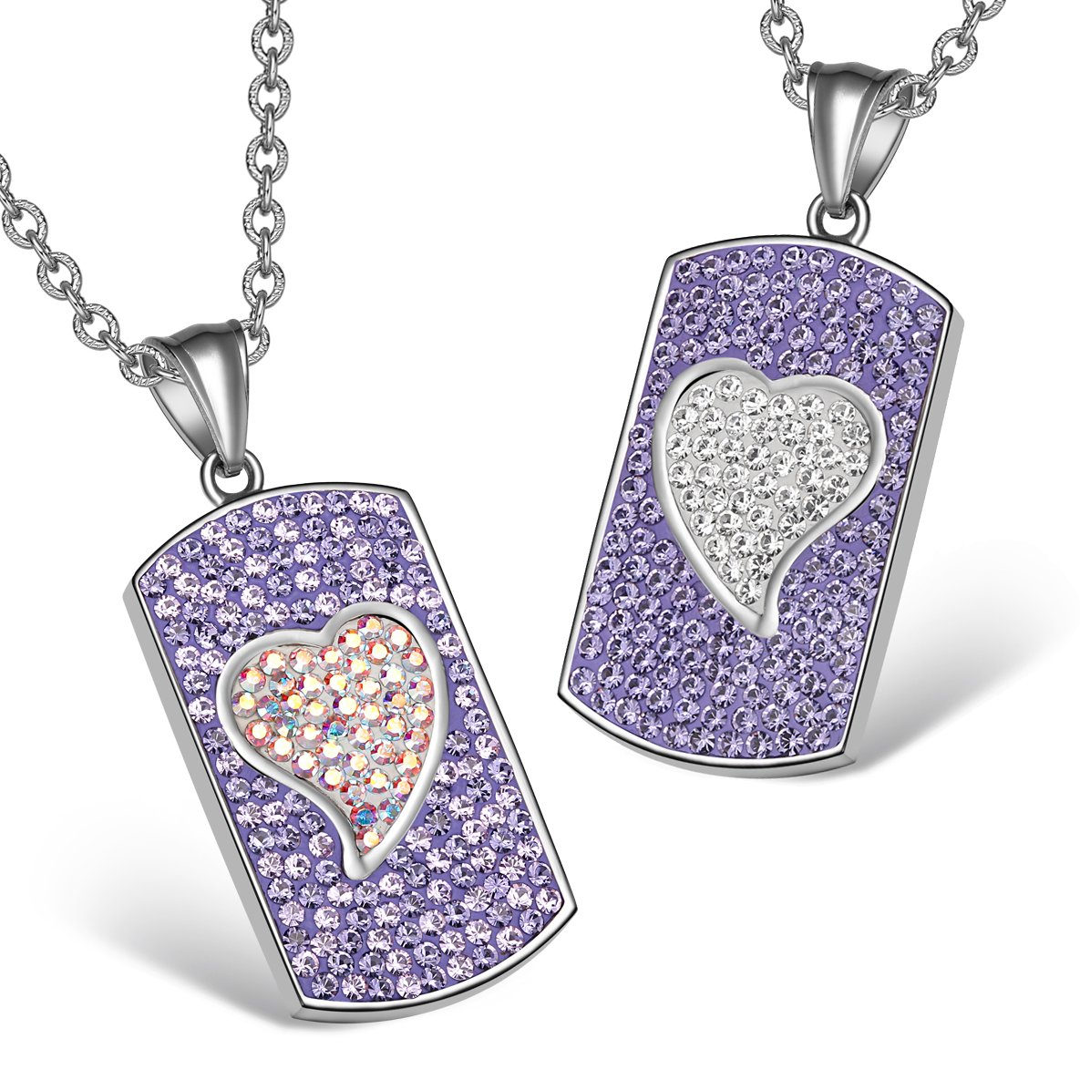 Magic Hearts Austrian Crystal Love Couples or Best Friends Tag Purple Rainbow White Necklaces