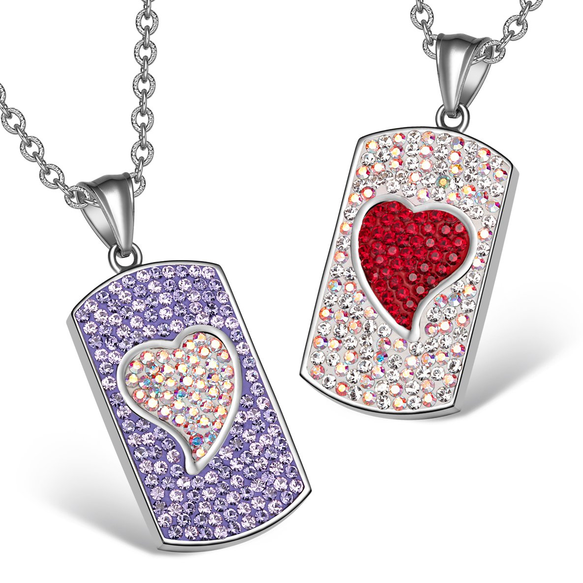 Magic Hearts Austrian Crystal Love Couples Best Friends Purple Rainbow White Cherry Red Necklaces