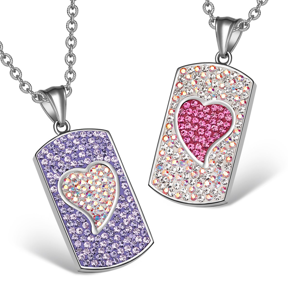 Magic Hearts Austrian Crystal Love Couples or Best Friends Tag Purple Pink Rainbow White Necklaces