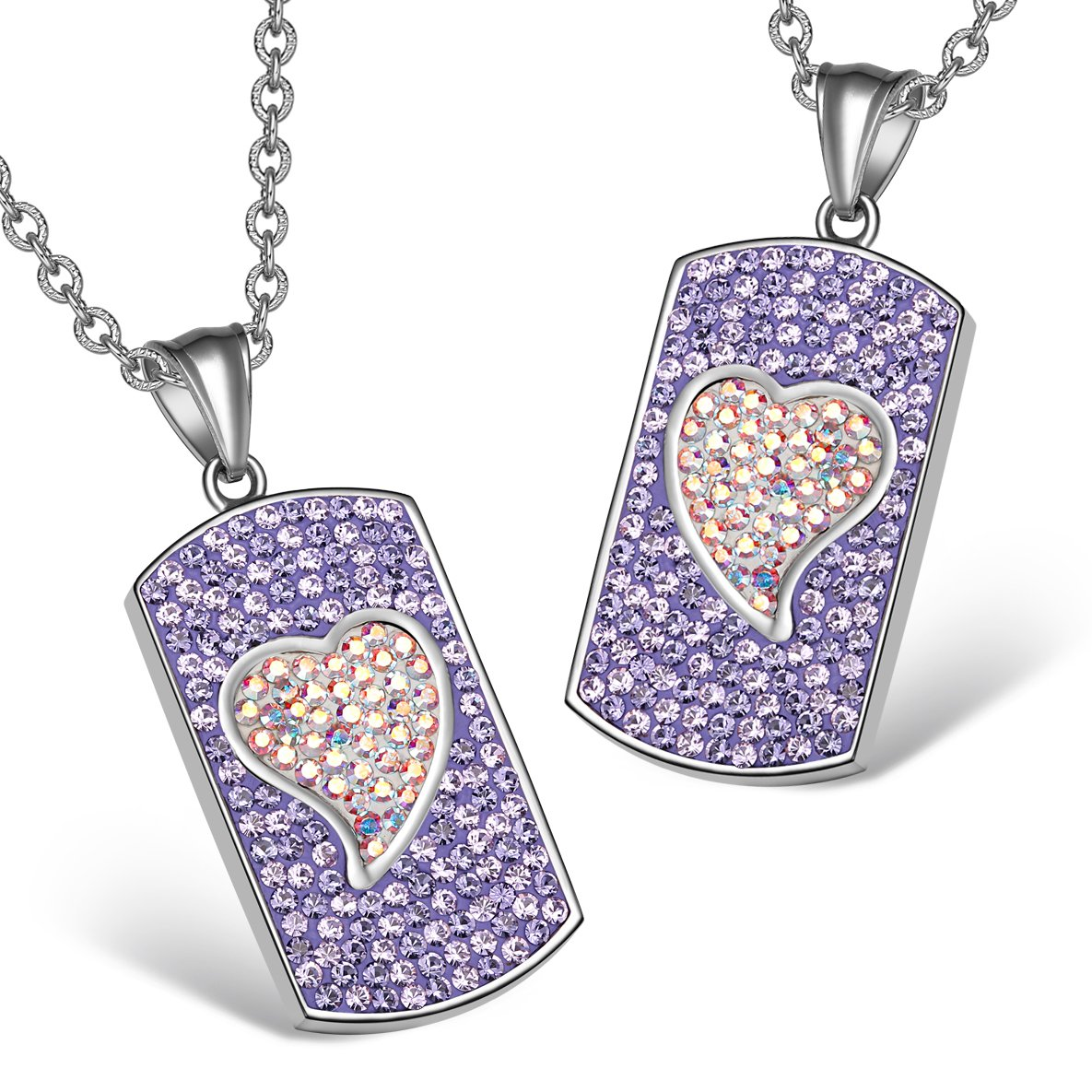 Magic Hearts Austrian Crystal Love Couples or Best Friends Tag Purple Rainbow White Charm Necklaces