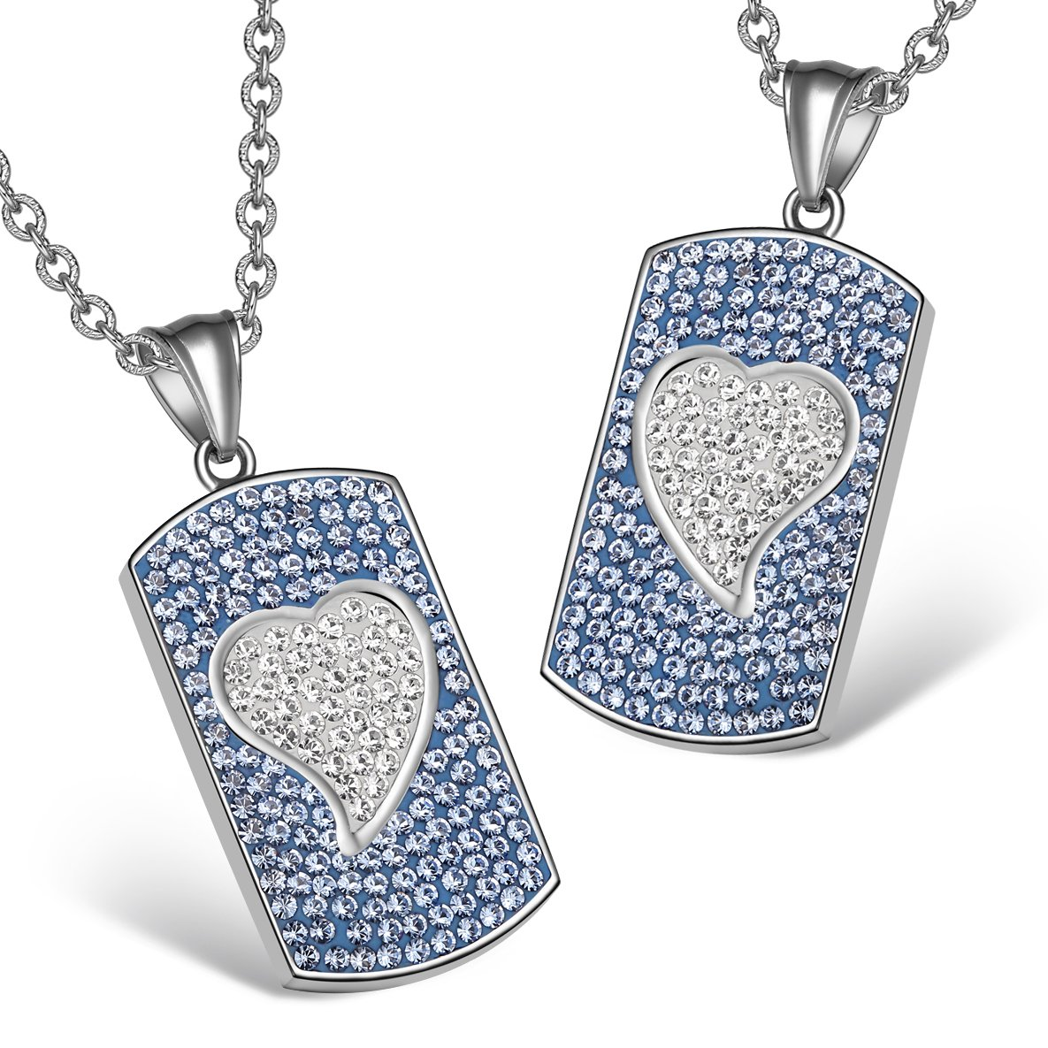Magic Hearts Austrian Crystal Love Couples or Best Friends Dog Tag Sky Blue White Charm Necklaces