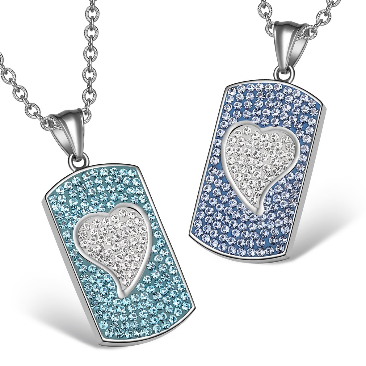 Magic Hearts Austrian Crystal Love Couples or Best Friends Tag Sky Aqua Blue White Necklaces