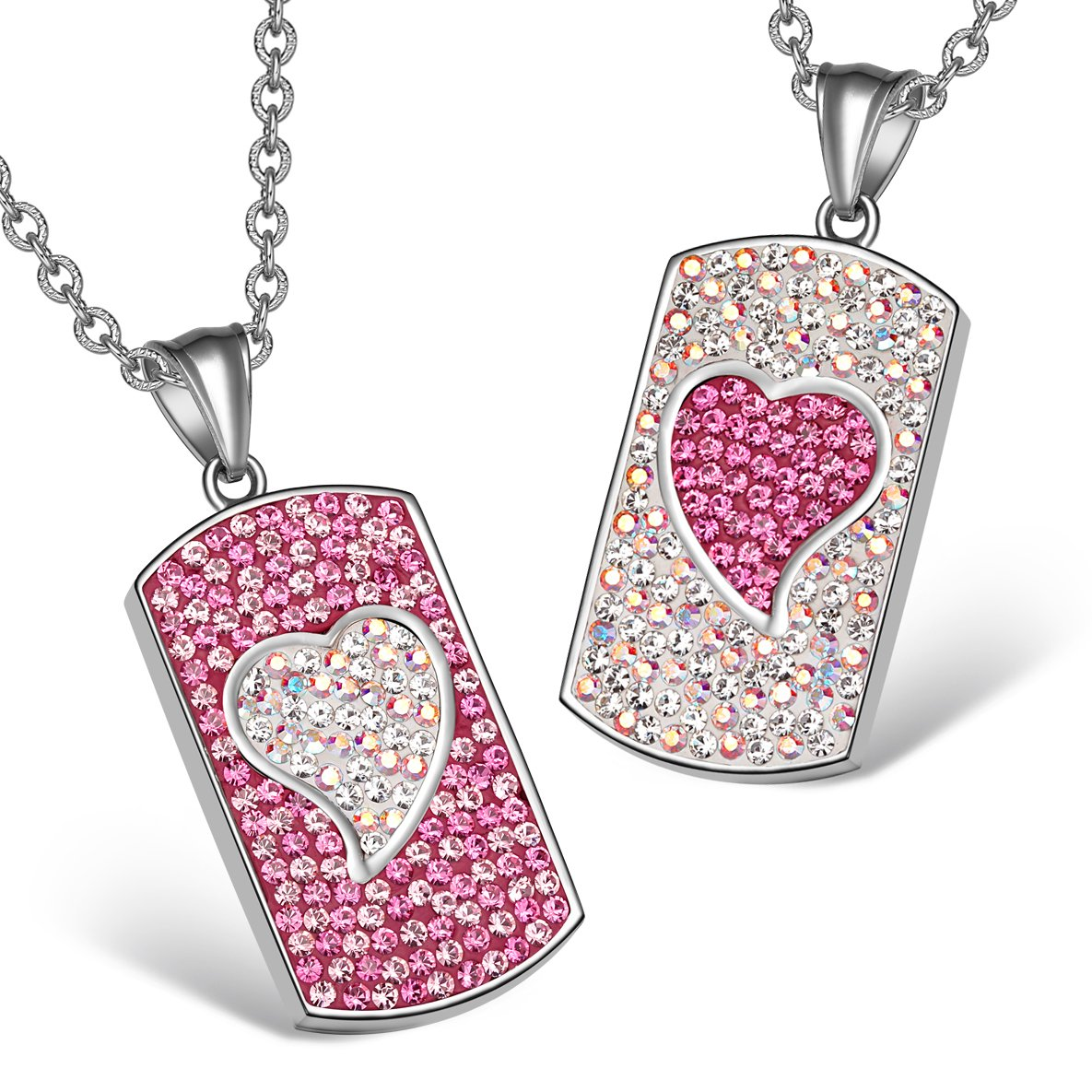 Magic Hearts Austrian Crystal Love Couples or Best Friends Tag Fuscia Pink Rainbow White Necklaces