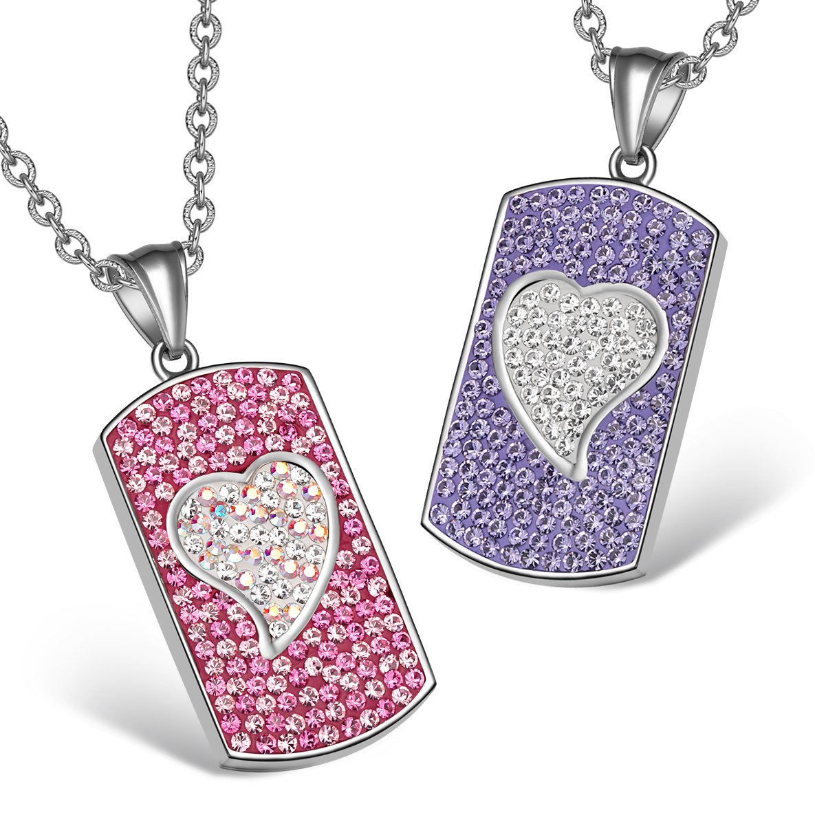 Magic Hearts Austrian Crystal Love Couple Best Friends Fuscia Pink Rainbow White Purple Necklaces