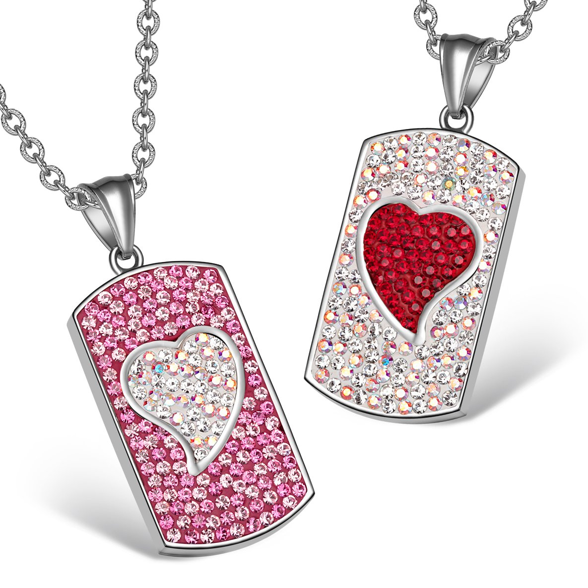 Magic Hearts Austrian Crystal Love Couples Best Friends Tag Fuscia Pink Rainbow White Red Necklaces