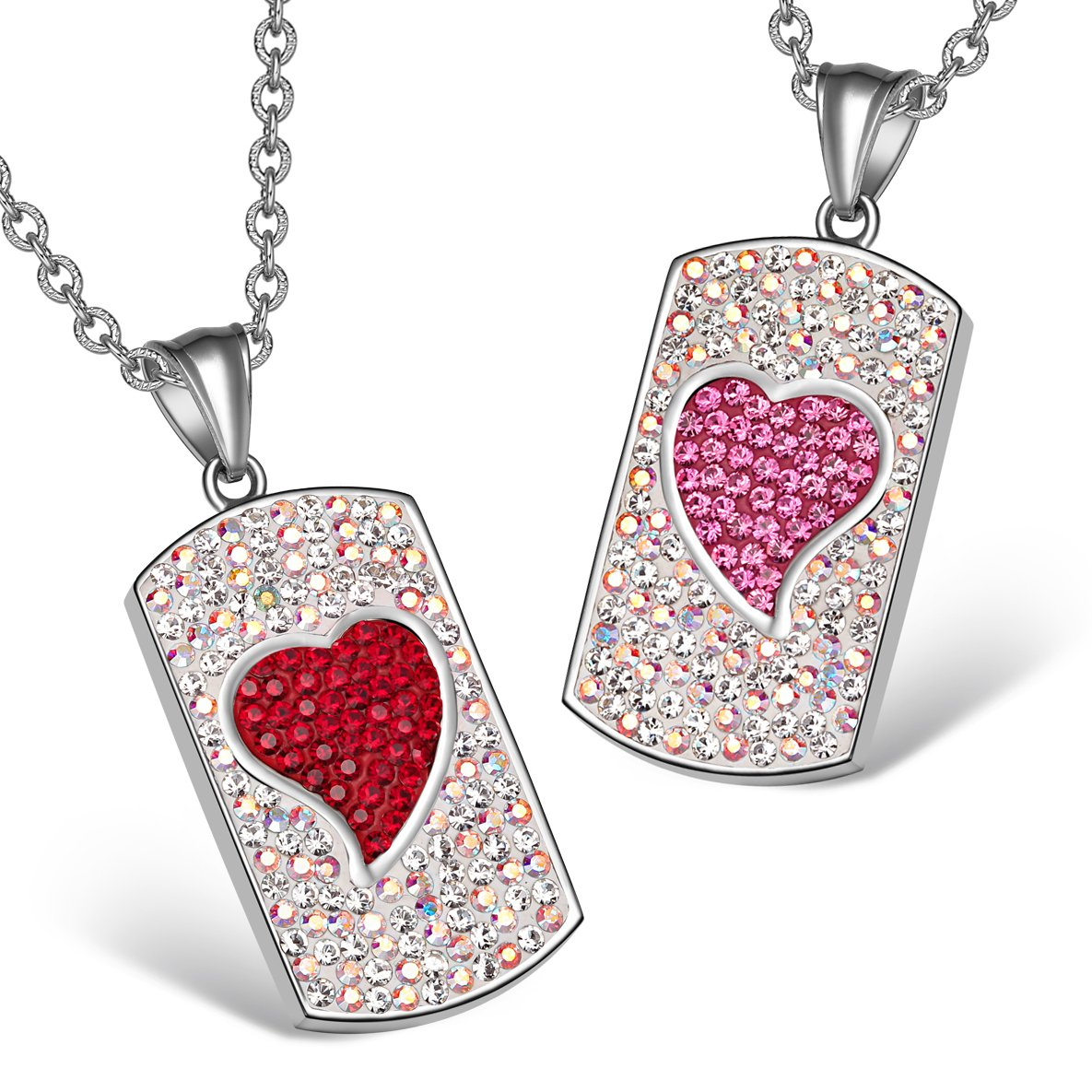 Magic Hearts Austrian Crystal Love Couples Best Friends Tag Cherry Red Pink Rainbow White Necklaces