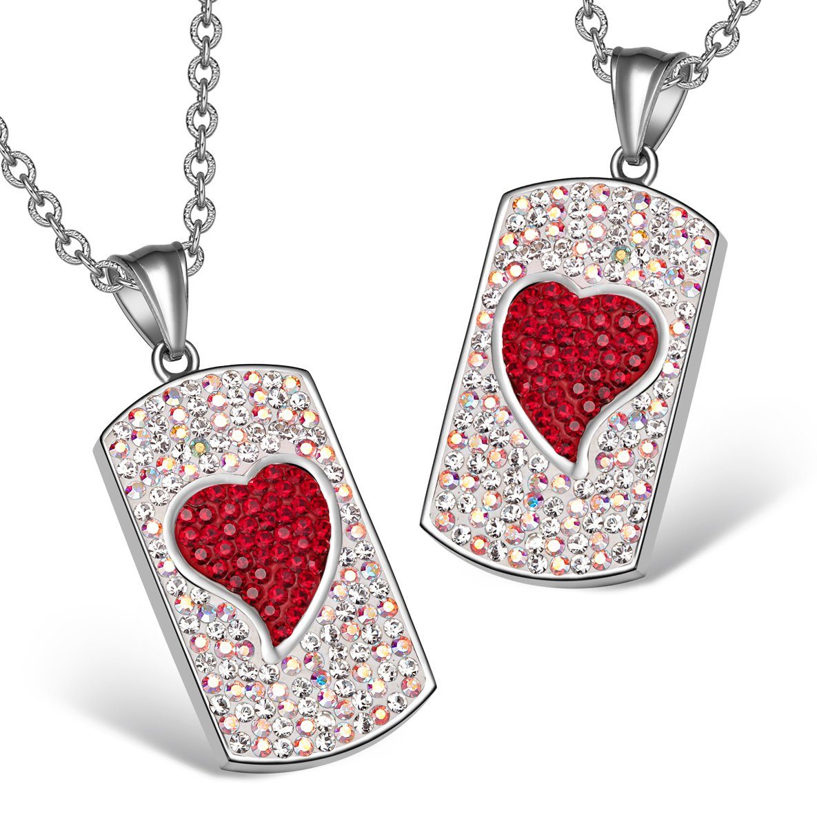 Magic Hearts Austrian Crystal Love Couples or Best Friends Tag Rainbow White Cherry Red Necklaces