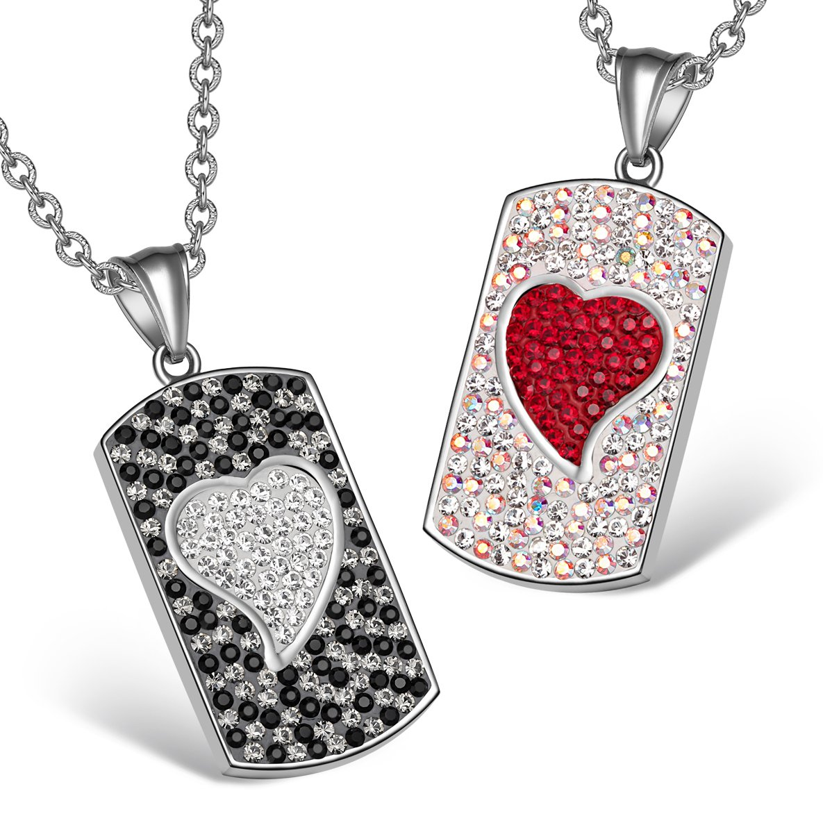 Magic Hearts Austrian Crystal Love Couples or Best Friends Tag Red Rainbow White Black Necklaces