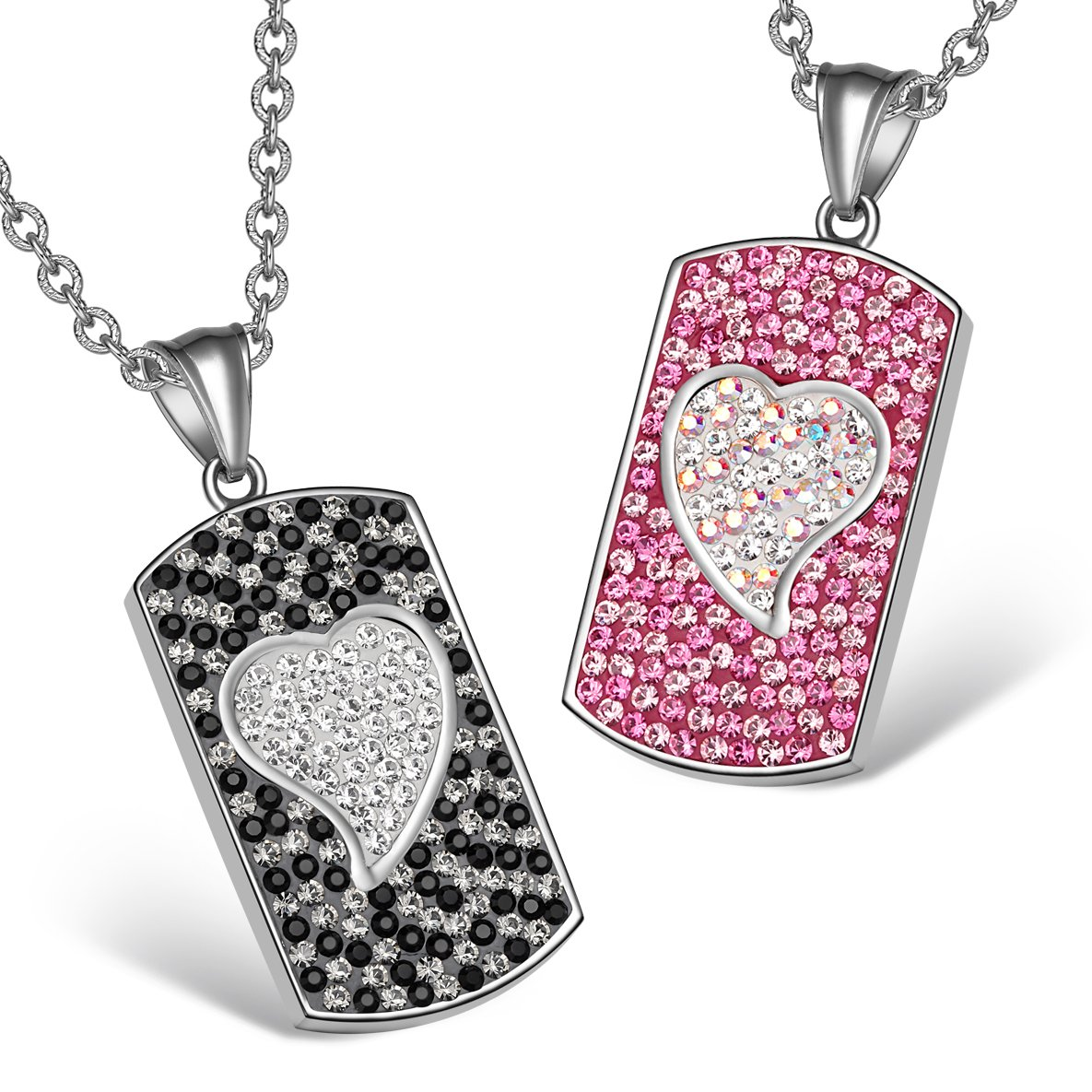Magic Hearts Austrian Crystal Love Couples Best Friends Tag Pink Rainbow White Jet Black Necklaces