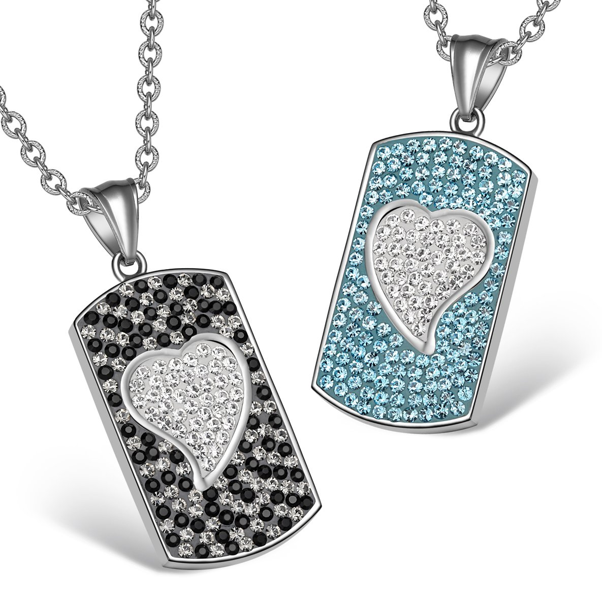 Magic Hearts Austrian Crystal Love Couples or Best Friends Tag Aqua Blue White Jet Black Necklaces