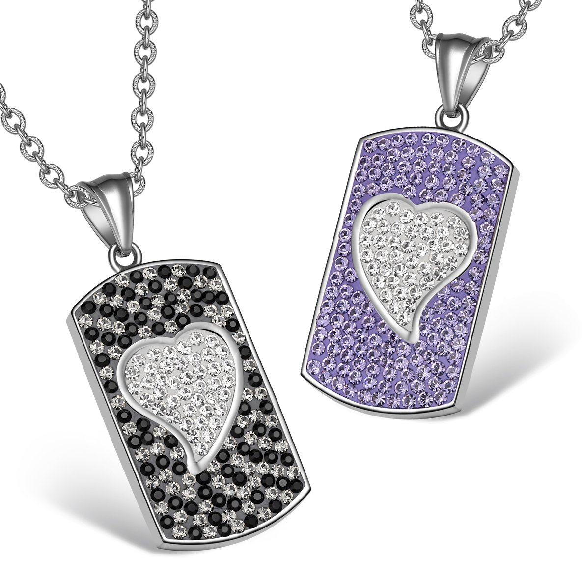 Magic Hearts Austrian Crystal Love Couples or Best Friends Dog Tag Purple White Jet Black Necklaces
