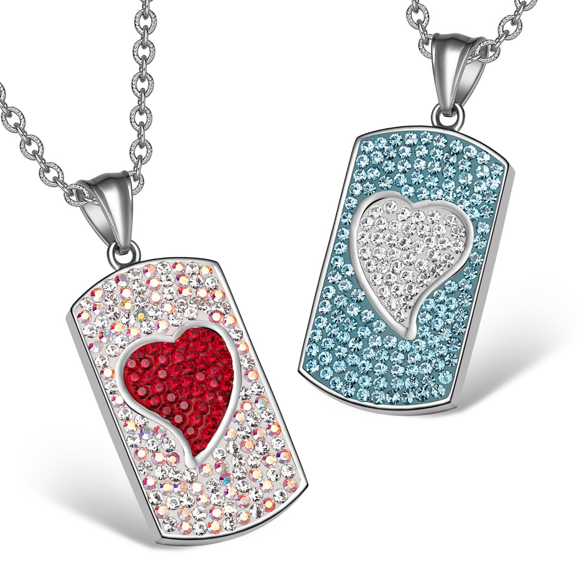Magic Hearts Austrian Crystal Love Couples or Best Friends Tag Red Rainbow White Blue Necklaces