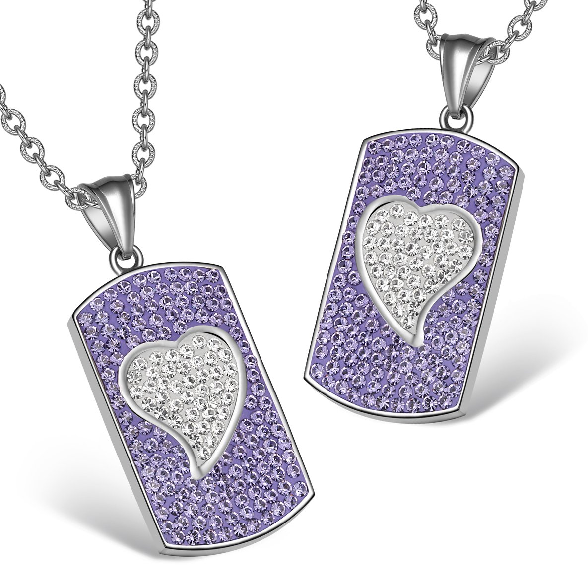 Magic Hearts Austrian Crystal Love Couples or Best Friends Dog Tag Purple White Charm Necklaces
