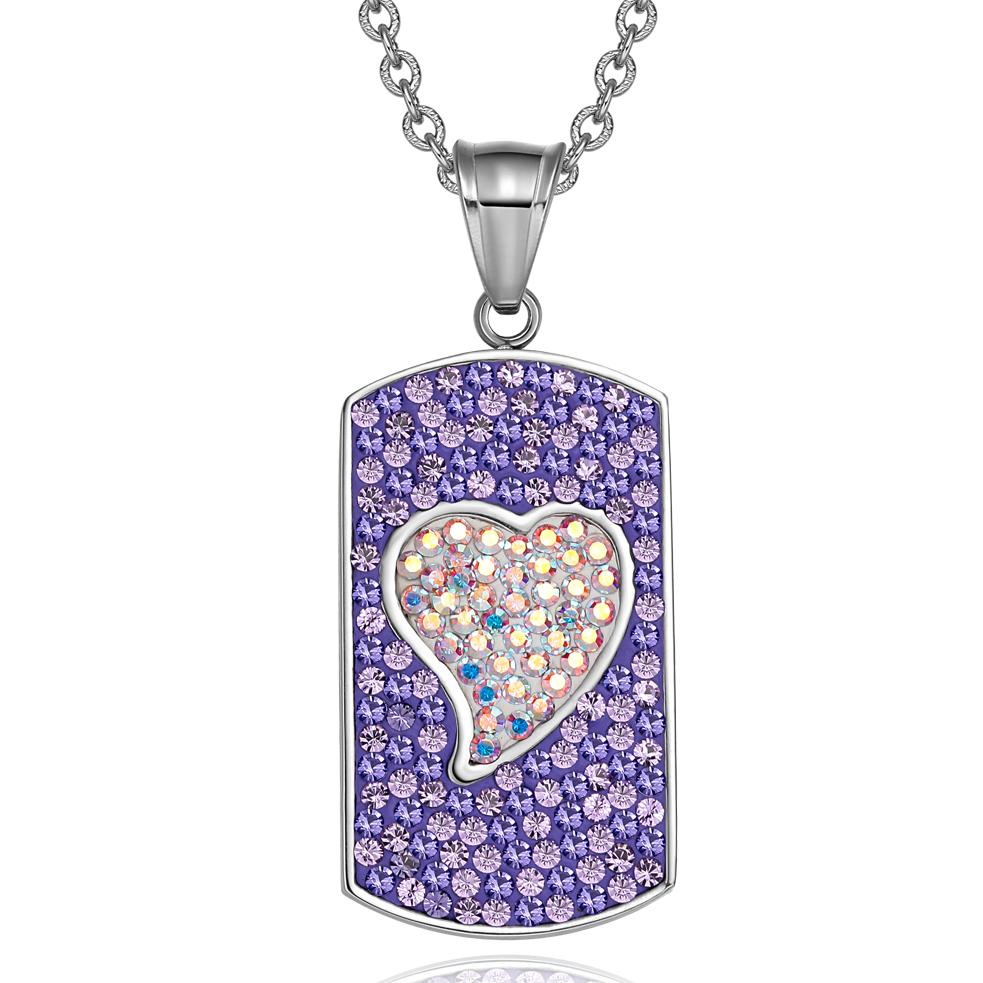 Magic Heart Austrian Crystals Amulet Love Energy Purple Rainbow White Dog Tag Pendant Necklace