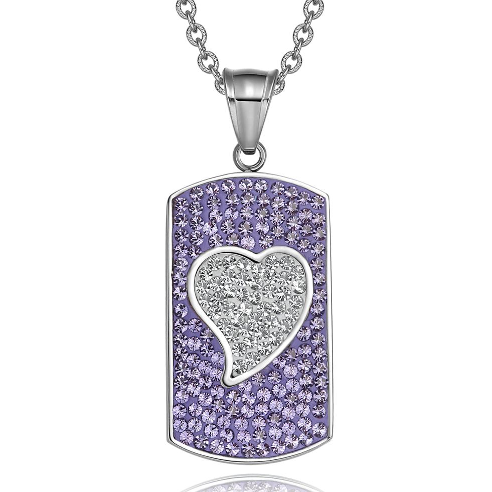 "Magic Heart Austrian Crystals Amulet Love Energy Purple and White Dog Tag Pendant 22"" Necklace"