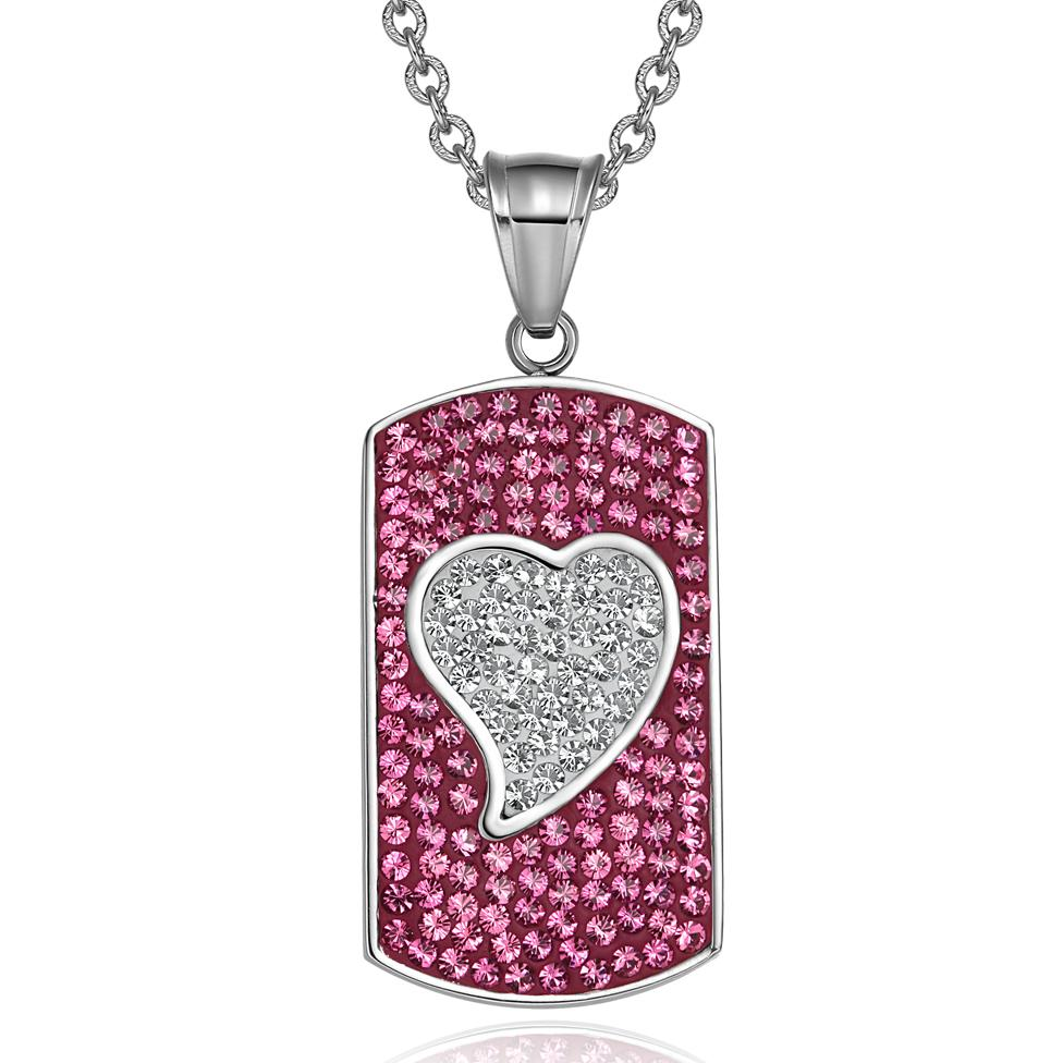 Magic Heart Austrian Crystals Amulet Love Energy Fuscia Pink White Dog Tag Pendant Necklace