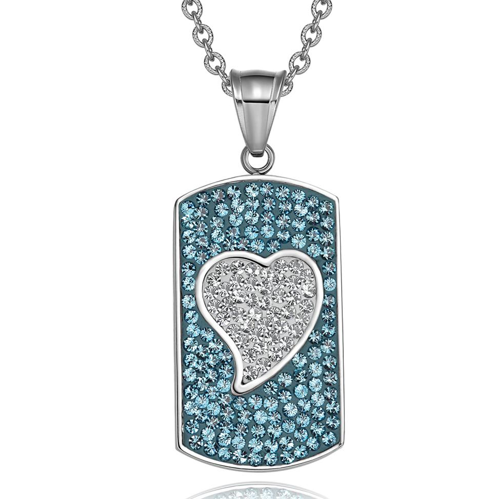 "Magic Heart Austrian Crystals Amulet Love Energy Aqua Blue and White Dog Tag Pendant 22"" Necklace"